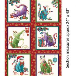 A red/white panel with 6 blocks of Christmas cats in each one