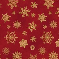 Gold metallic snowflakes on a red background from Cat-i-tude christmas range