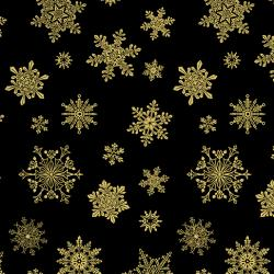 Gold metallic snowflakes on a black background from Cat-i-tude christmas range