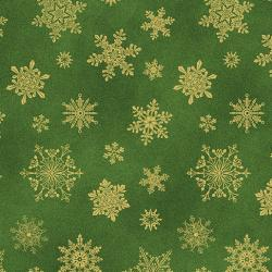 Gold metallic snowflakes on a GREEN background from Cat-i-tude christmas range