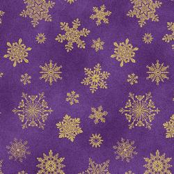 Gold metallic snowflakes on a purple background from Cat-i-tude christmas range