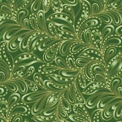 Featherly paisley green forest fabric