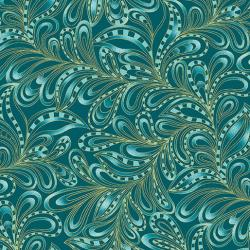Featherly paisley teal green forest fabric